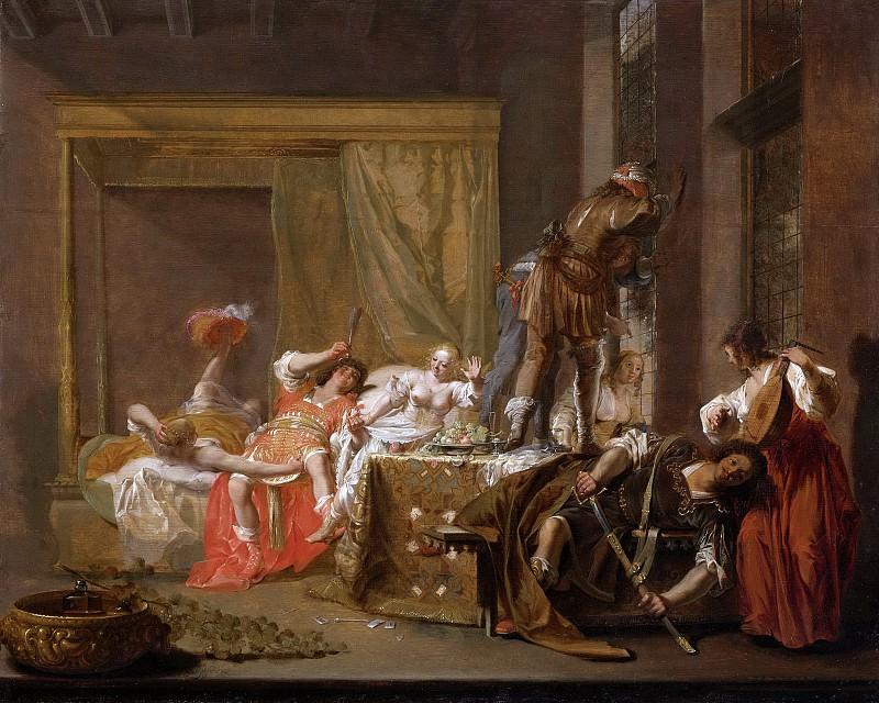 Knüpfer, Nicolaes -- Scène uit het huwelijk van Messalina en Gaius Silius, mogelijk episode uit een toneelstuk, 1645-1655. Rijksmuseum: part 4