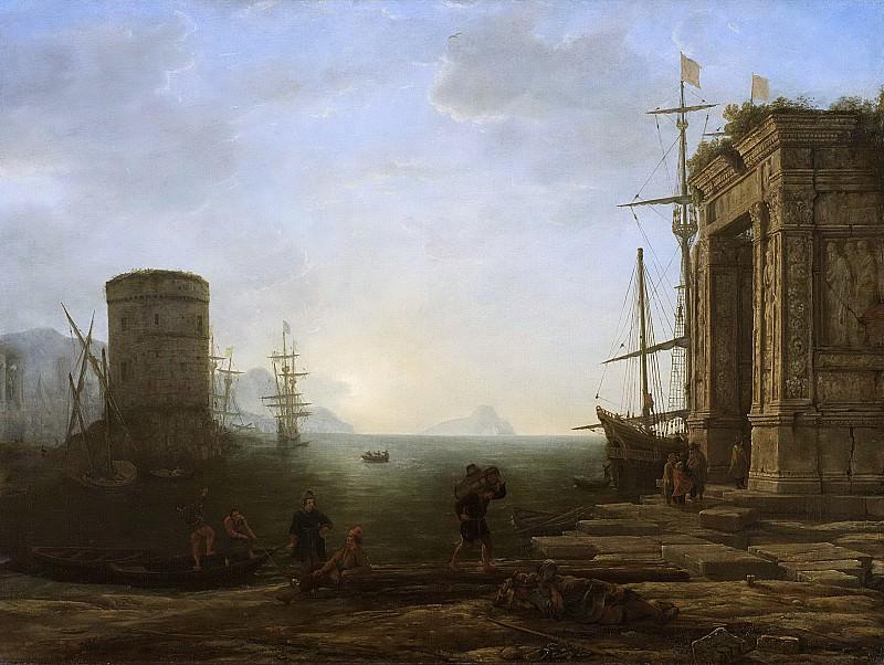 Gellée (genaamd Le Lorrain), Claude -- Havengezicht bij zonsopgang, 1637-1638. Rijksmuseum: part 4