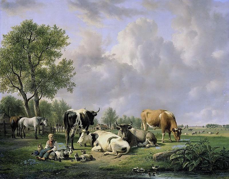Ян ван Равенсвай -- Домашний скот на лугу, 1820-1837. Рейксмузеум: часть 4