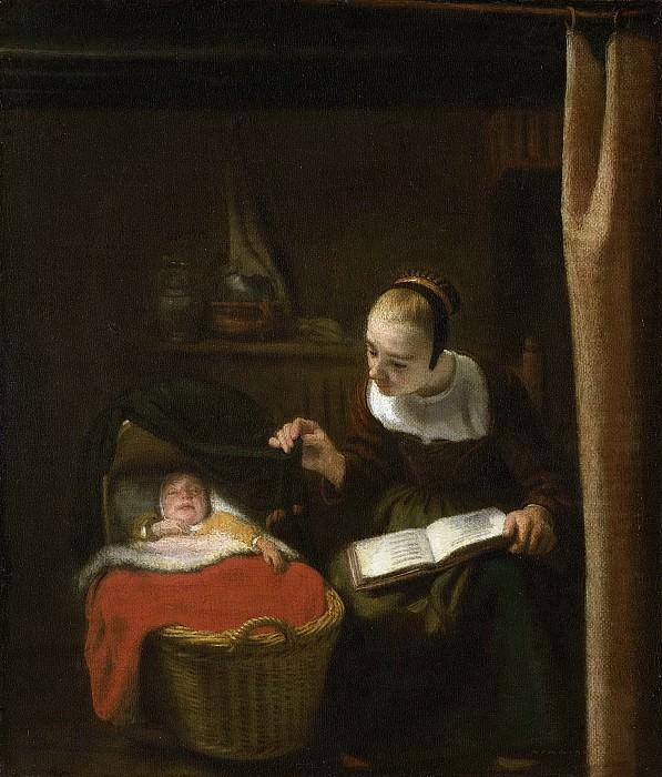 Maes, Nicolaes -- Jonge vrouw bij de wieg, 1652-1662. Rijksmuseum: part 4