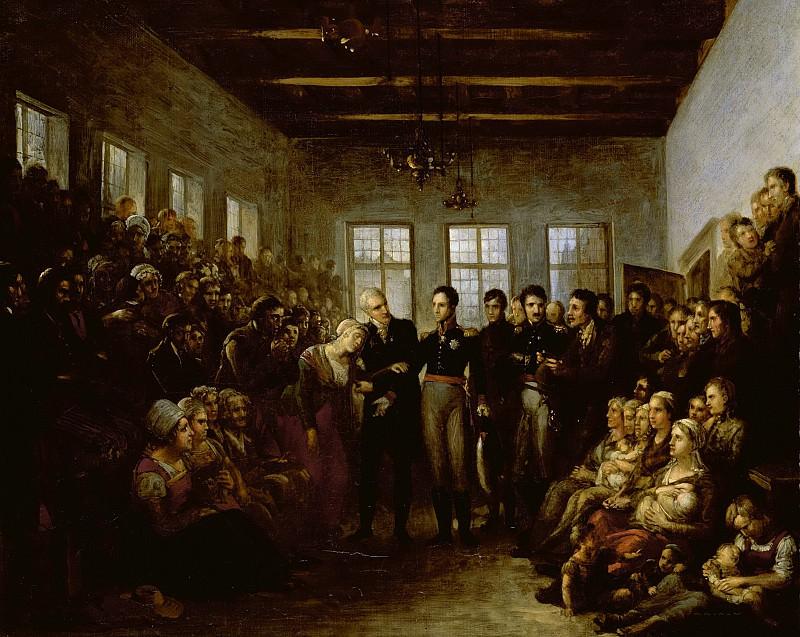 Bree, Mattheus Ignatius van -- De prins van Oranje bezoekt de slachtoffers van de watersnood in het Aalmoezeniersweeshuis te Amsterdam op 14 februari 1825., 1825. Rijksmuseum: part 4