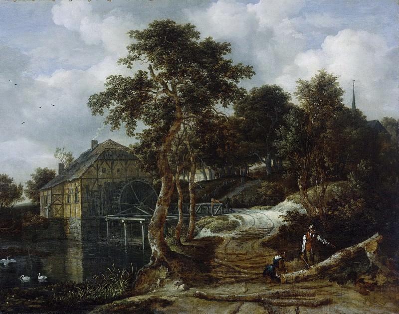 Ruisdael, Jacob Isaacksz. van -- Landschap met watermolen, 1661. Rijksmuseum: part 4