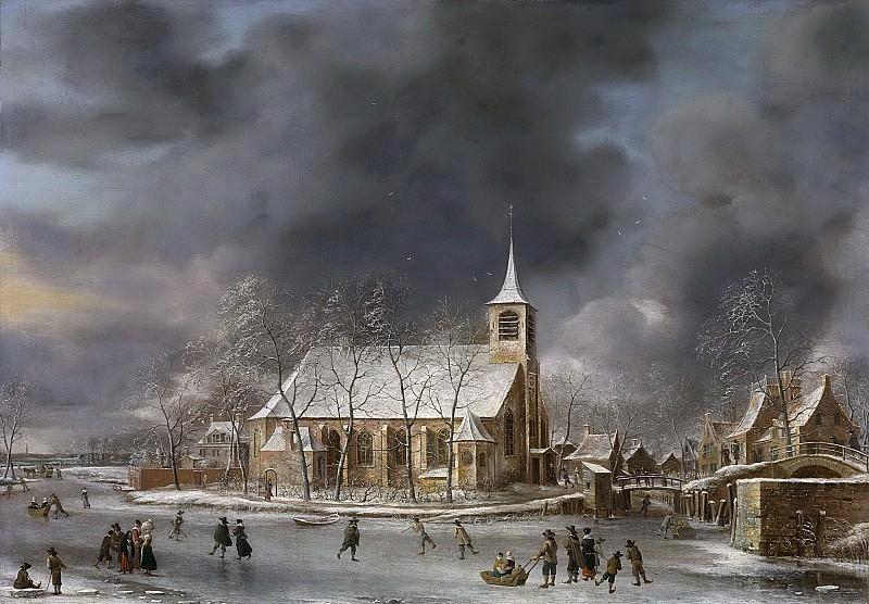 Beerstraten, Jan Abrahamsz. -- Gezicht op de kerk te Sloten in de winter, 1640-1666. Rijksmuseum: part 4