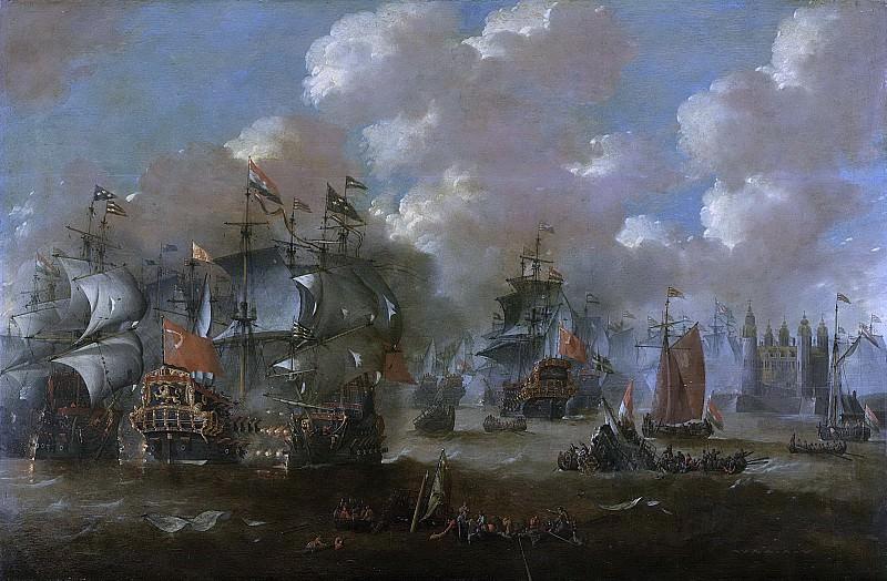 Петер ван де Вельде -- Морское сражение у Эльсенёра между голландским и шведским флотами 8 ноября 1658 года, 1670-1679. Рейксмузеум: часть 4