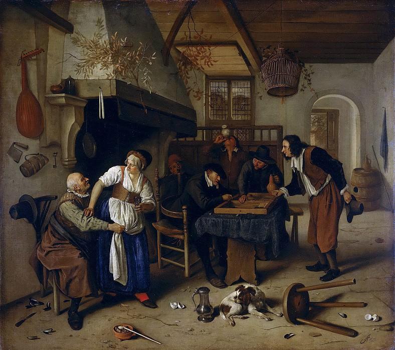 Ян Хавикс Стен -- Интерьер трактира, старец, пристающий к хозяйке, и игроки в триктрак или «Двойная ставка», 1660-79. Рейксмузеум: часть 4