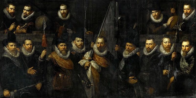 Moreelse, Paulus -- Officieren en andere schutters van wijk III in Amsterdam onder leiding van kaptitein Jacob Gerritsz Hoyngh en luitenant Nanningh Florisz Cloeck, 1616. Rijksmuseum: part 4
