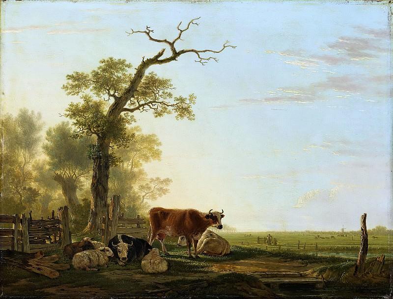 Якоб ван Стрей -- Панорамный пейзаж и домашний скот на переднем плане, 1800-1815. Рейксмузеум: часть 4