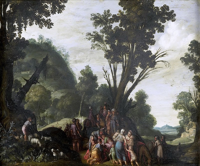 Pynas, Jacob Symonsz. -- De ontmoeting van Jacob en Ezau, 1610-1620. Rijksmuseum: part 4