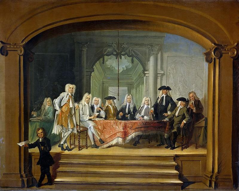 Troost, Cornelis -- De regenten van het Aalmoezeniersweeshuis te Amsterdam, 1729, 1729. Rijksmuseum: part 4