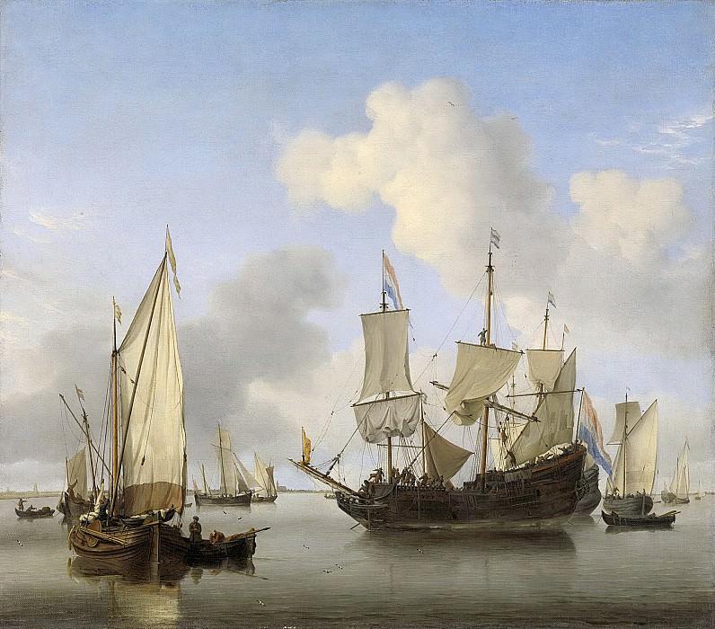 Виллем ван де Вельде (II) -- Корабли у побережья для постановки на якорь, 1660. Рейксмузеум: часть 4
