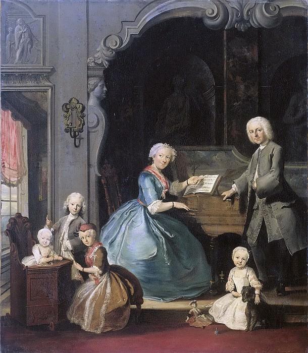 Корнелис Трост -- Вся семья у клавесина, 1739. Рейксмузеум: часть 4