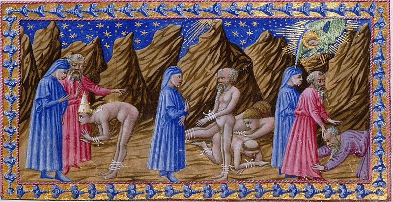 100 Purgatory, Fifth terrace - Dante and Virgil with Pope Adrian V, Hugh Capet, and Statius. Divina Commedia