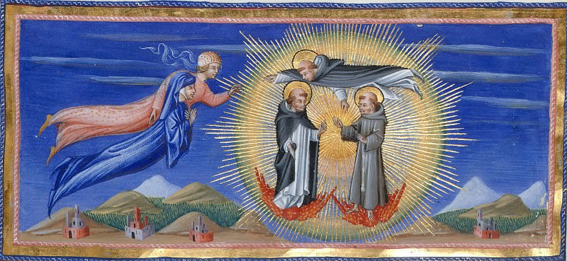 148 Dante and Beatrice before Thomas Aquinas, who presents the two to Dominic and Francis, both standing on winged cherubim. Divina Commedia