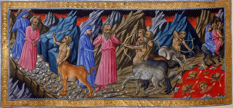021 The seventh circle. Dante and Virgil encountering a centaur, and the centaur Nessus carrying Dante and Virgil on his back past the lake of boiling blood in which are submerged Attila and other tyrants. Divina Commedia