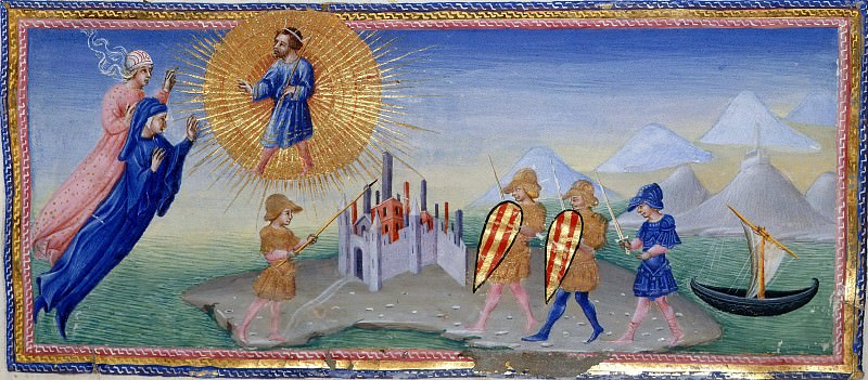 143 Dante and Beatrice hovering before Charles Martel, and, Aeneas is standing before a Sicilian city, as three warriors approach. Divina Commedia