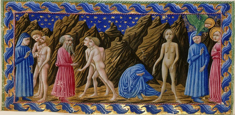098 Purgatory, Fourth terrace - Dante speaking to two of the Slothful, while Virgil observes the two Slothful. Divina Commedia