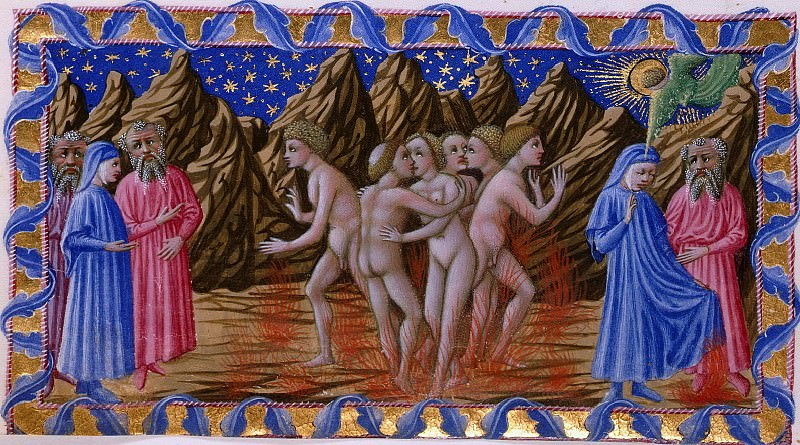 113 Purgatory, Seventh terrace - Dante and Virgil observing the fate of the Lustful. Divina Commedia