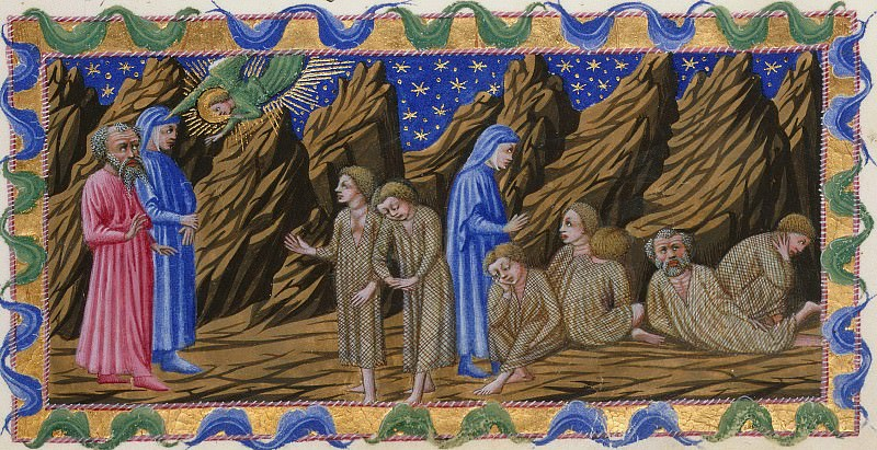 088 Purgatory, Second terrace - Dante and Virgil with the Envious and their cloaks. Divina Commedia