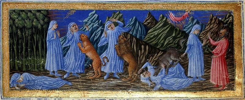 002 Видение Данте ада. Атака леопарда (рыси), льва и волчицы. Встреча с Вергилием. Божественная комедия