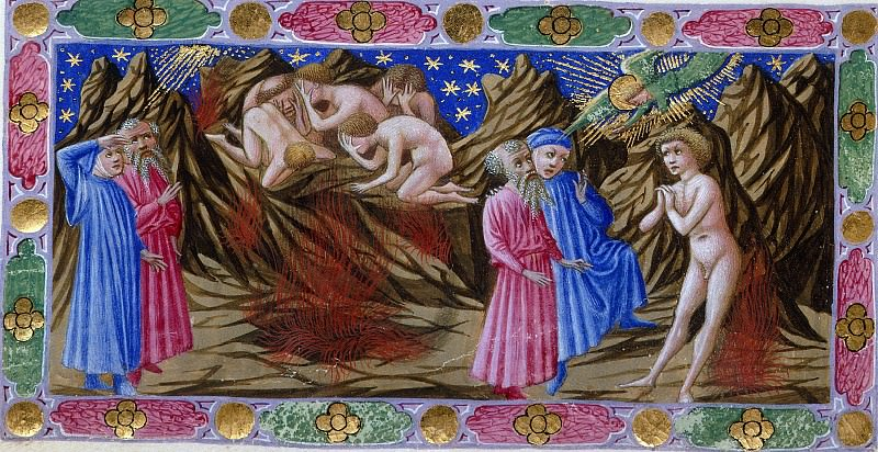 093 Purgatory, Third terrace - Dante and Virgil with the Wrathful in Purgatory. Divina Commedia