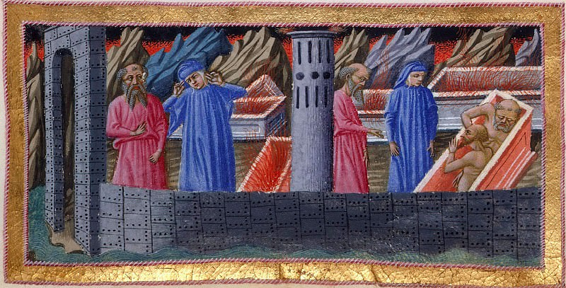 018 Dante and Virgil walking between the walls and the tombs in the city of Dis, and Dante conversing with Farinata degli Uberti and Guido Cavalcanti, who are in their sarcophagus. Divina Commedia