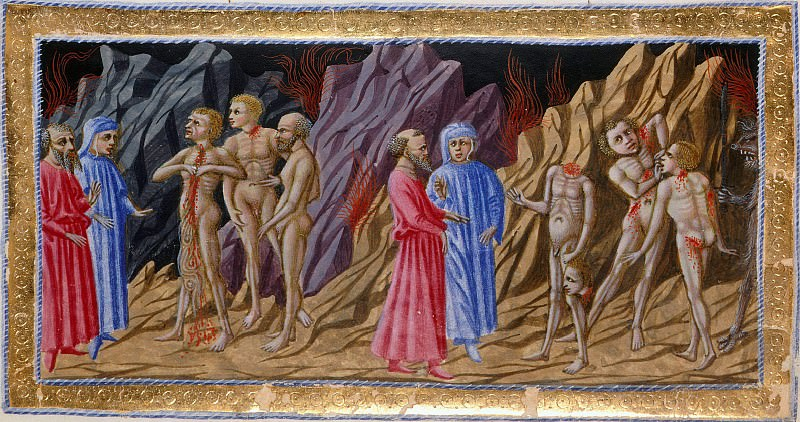 051 Eighth Circle - Dante and Virgil encountering the sowers of discord. Divina Commedia