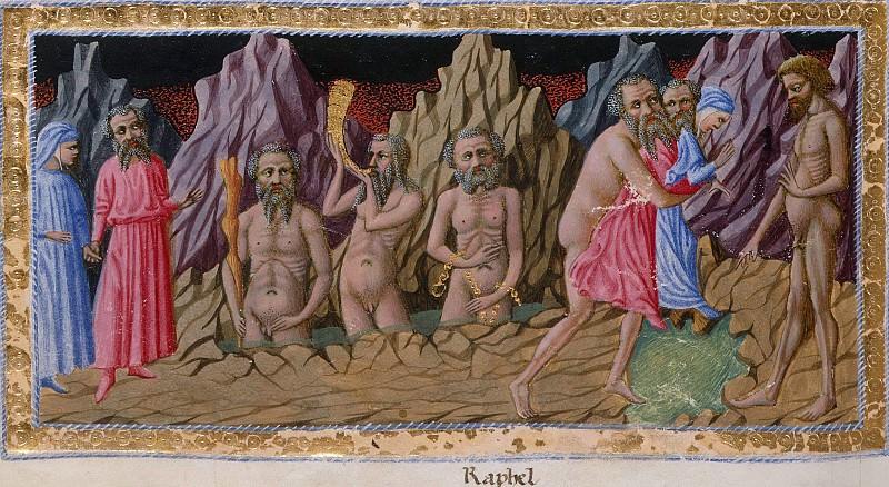 056 Eighth Circle - Dante and Virgil encountering the three giants, Nimrod, Ephialtes, and Ataeus. Divina Commedia