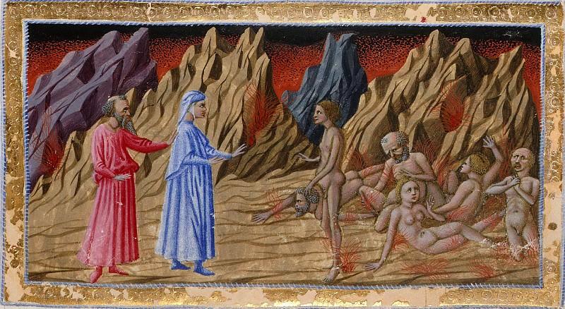 049 Eighth Circle - Dante and Virgil meeting Guido di Montefeltro. Divina Commedia
