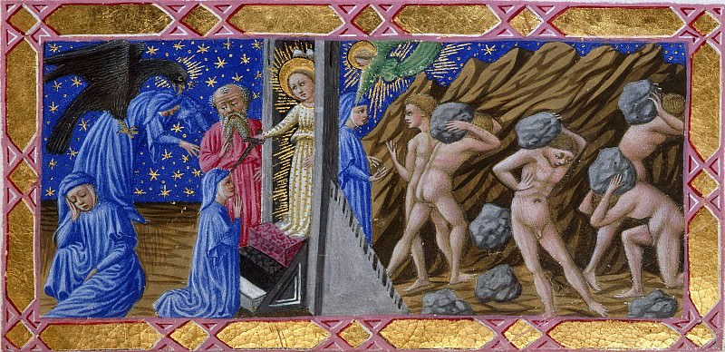 084 Purgatory, First terrace - Dante and Virgil at the gates of Purgatory, and the Proud carrying heavy stones. Divina Commedia