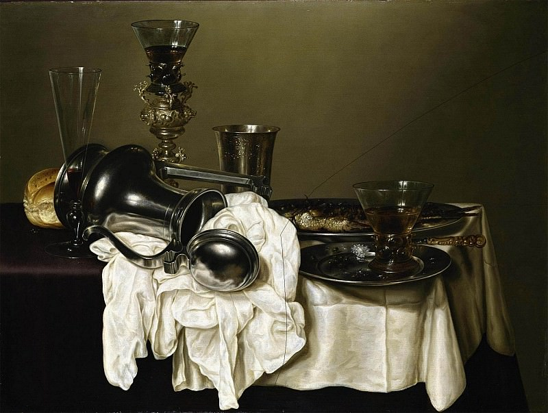 GERRET WILLEMSZ HEDA An upturned silver ewer a silver beaker a wine flute a roemer and a fish on pewter plates and other objects all on a partly draped table 89732 172. часть 2 -- European art Европейская живопись