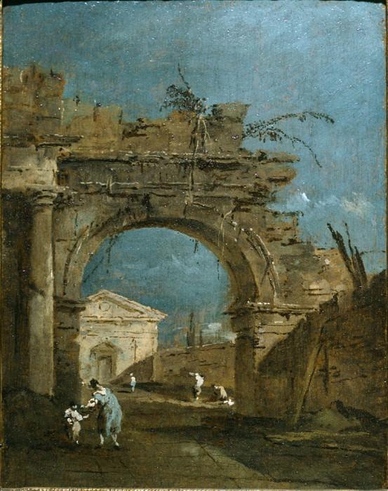 FRANCESCO GUARDI Capriccio with a Large Arch and a Temple Beyoung 38541 316. часть 2 -- European art Европейская живопись