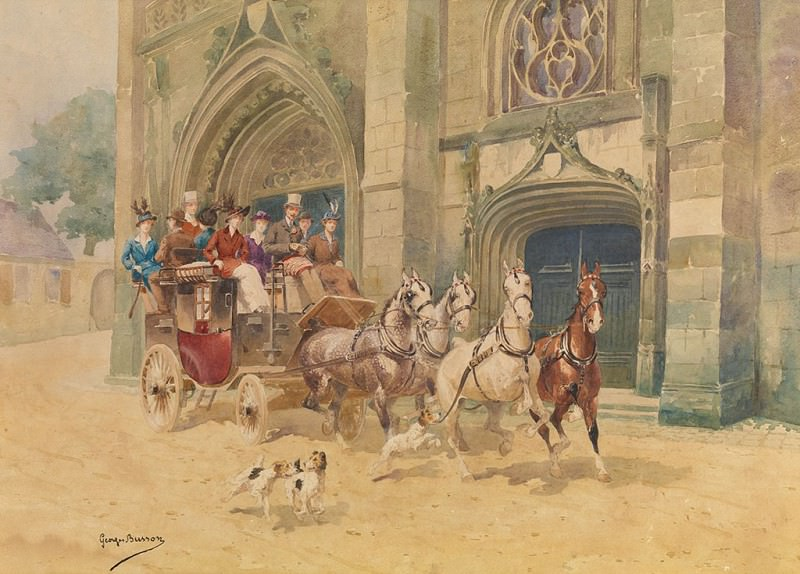 Georges Louis Charles BUSSON Coach to the Fair 90019 121. часть 2 -- European art Европейская живопись