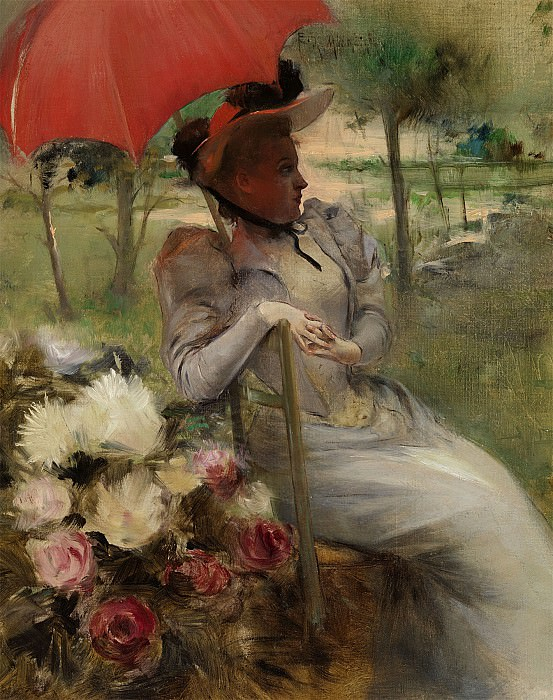 Edgard de MONTZAIGLE DE SAINT PIERRE The red Parasol 79079 121. часть 2 -- European art Европейская живопись