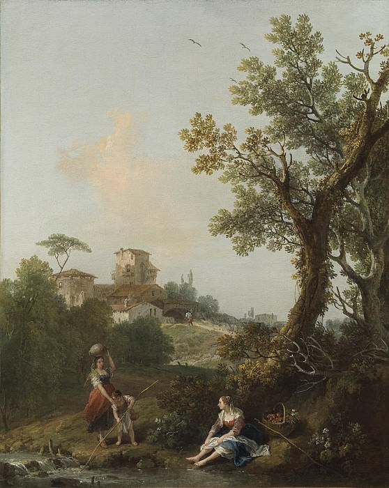 Francesco Zuccarelli A wooded river landscape with a boy fishing 109239 20. часть 2 -- European art Европейская живопись