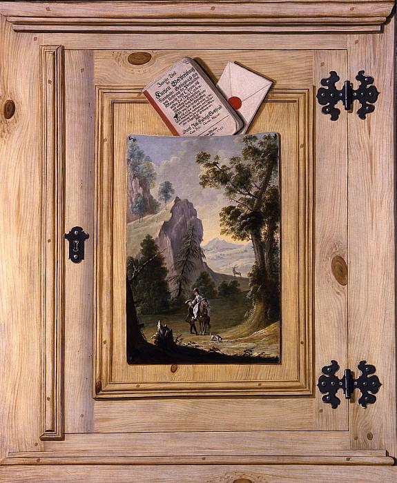 GERMAN SCHOOL A trompe l'oeil of a painting pinned to a cabinet door 29892 172. часть 2 -- European art Европейская живопись
