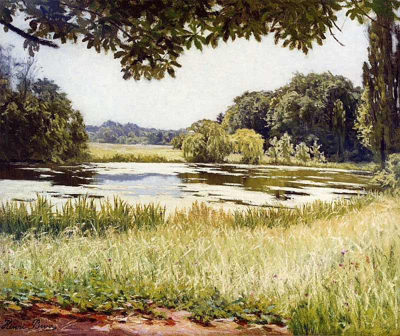 Henri Biva A River Scene in France 11967 2426. часть 2 -- European art Европейская живопись