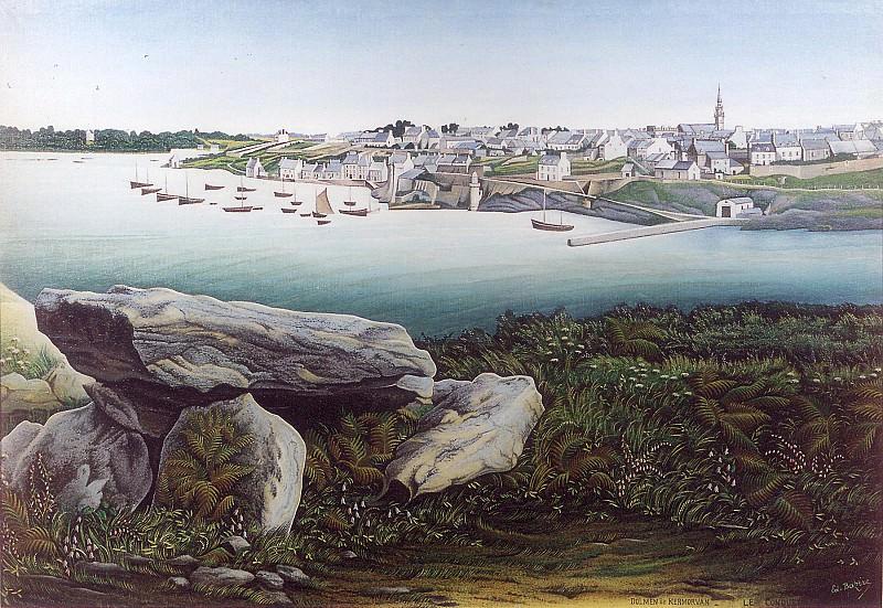 Edmond Pierre BAZIRE Port de Conquet vu du Dolmen de Kermovan 30028 1184. часть 2 -- European art Европейская живопись