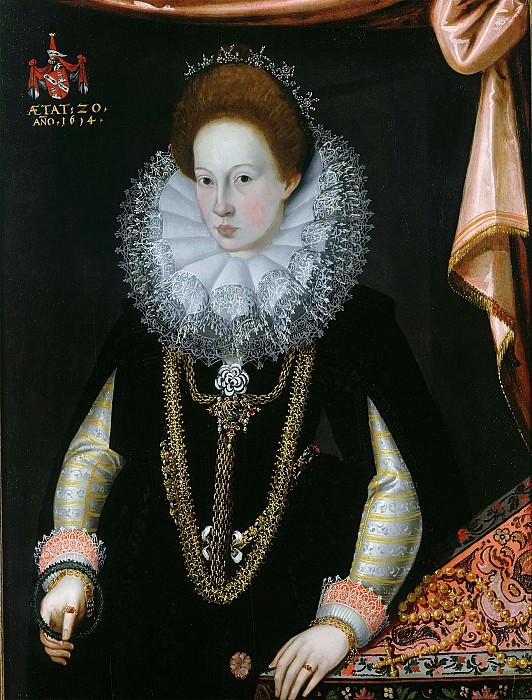 German School 1614 Maria Schlechhuber betrothed to Andreas Ligsalz zu Ascholding' i 32936 321. часть 2 - европейского искусства Европейская живопись