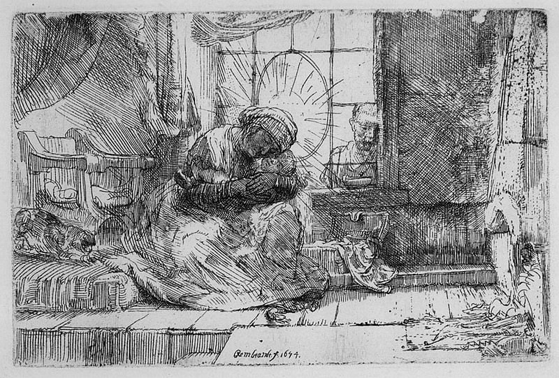 Harmensz van Rijn Rembrandt The Virgin and Child with the Cat and Snake 39127 1124. часть 2 -- European art Европейская живопись