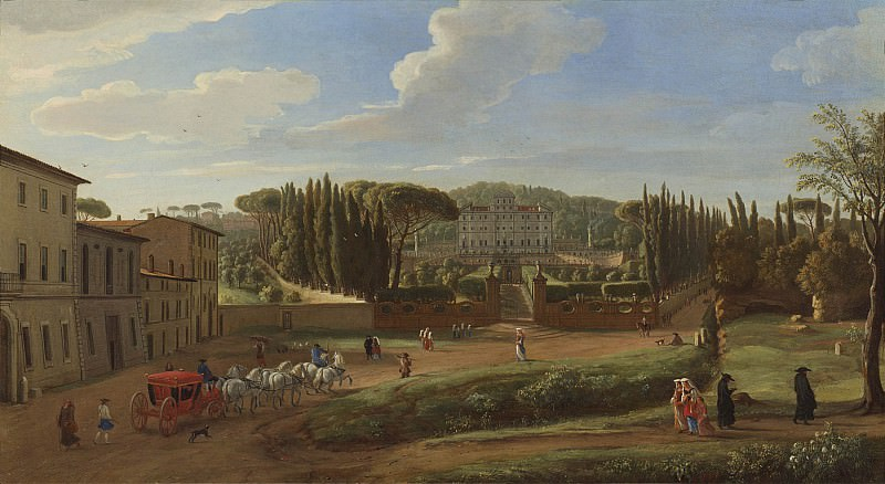 Gaspar van Wittel A view of the Villa Aldobrandini from the Piazza Municipale at Frascati 100499 20. часть 2 - европейского искусства Европейская живопись