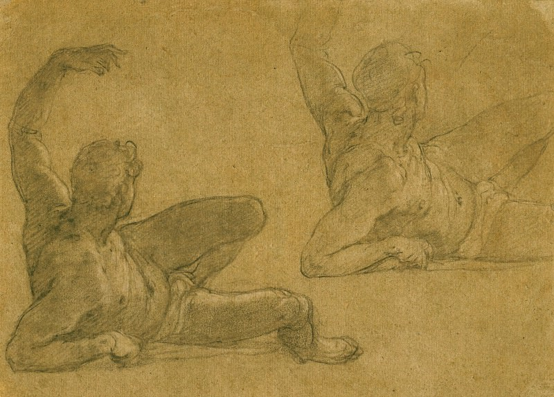 FEDERICO ZUCCARO Two Studies of a Reclining Male Nude with his Left Arm Raised 11676 172. часть 2 -- European art Европейская живопись