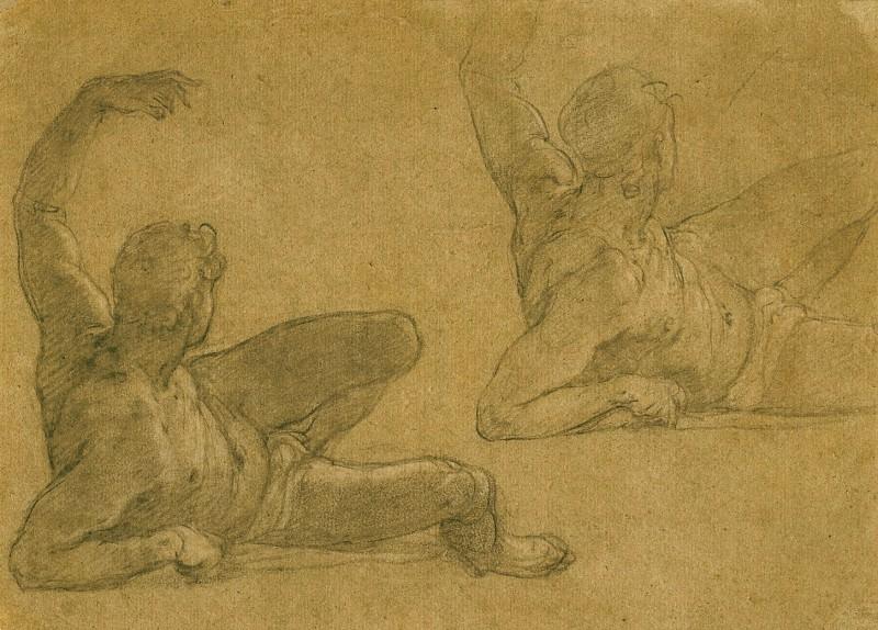 FEDERICO ZUCCARO Two Studies of a Reclining Male Nude with his Left Arm Raised 11676 172. часть 2 - европейского искусства Европейская живопись