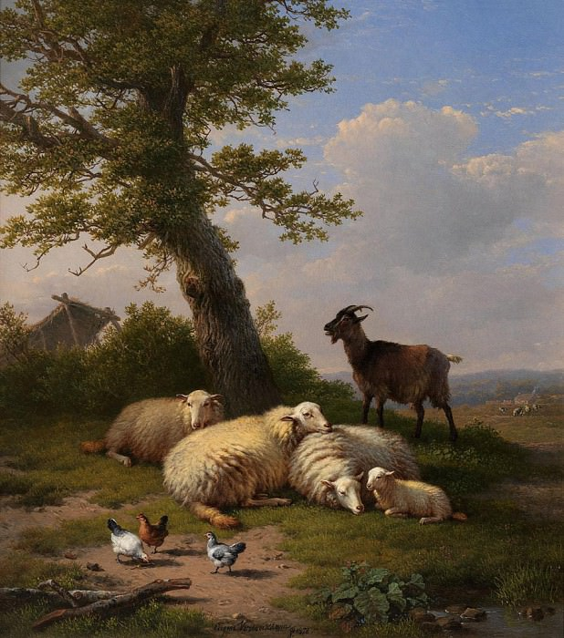 EugГЁne Verboeckhoven Resting by the Tree 37543 121. часть 2 -- European art Европейская живопись