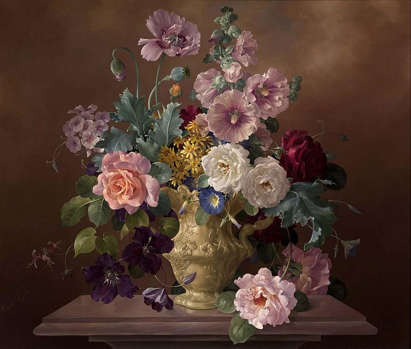 Harold Clayton Roses Hollyhocks and Poppies in an Ornamental Jug 15939 2426. часть 2 -- European art Европейская живопись