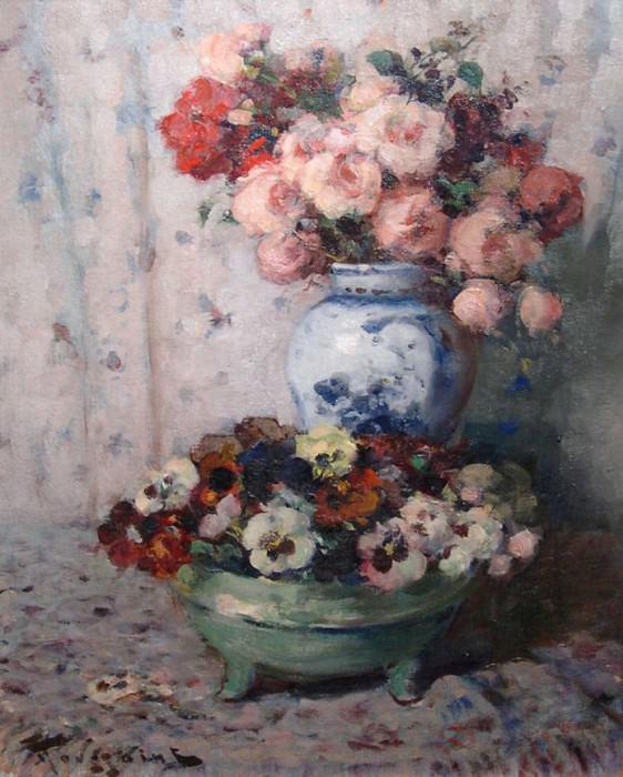 Fernand TOUSSAINT Still life of flowers 41286 617. часть 2 -- European art Европейская живопись