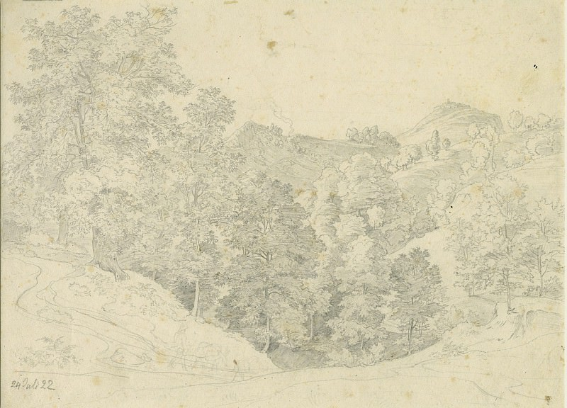 Heinrich Reinhold An Italian Landscape View from Olevano toward Civitella 1822 122567 1124. часть 2 -- European art Европейская живопись