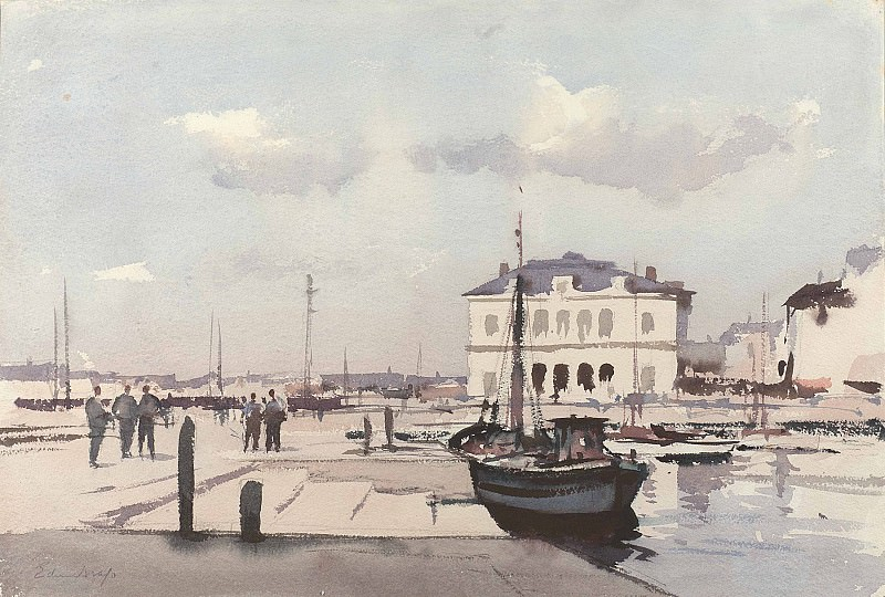 Edward Seago Hotel de Ville Honfleur 28586 20. часть 2 -- European art Европейская живопись