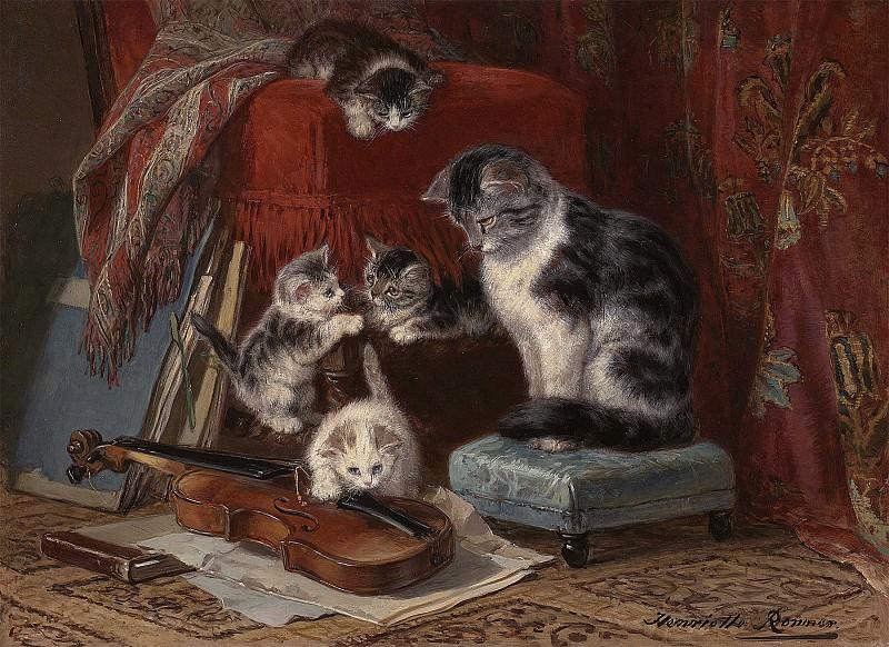 Henriette Ronner Knip Playtime 28838 20. часть 2 - европейского искусства Европейская живопись