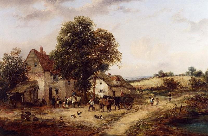 Georgina Lara A Farmyard with Figures & Horses 12138 2426. часть 2 -- European art Европейская живопись