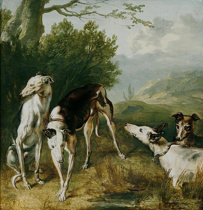 Flemish School Mid 17th Century Four Greyhounds in a wooded Landscape 18228 268. часть 2 -- European art Европейская живопись